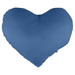Blue Color Large 19  Premium Flano Heart Shape Cushions by picsaspassion