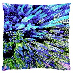 Colorful Floral Art Large Flano Cushion Case (one Side) by yoursparklingshop