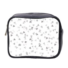 Silver Hearts Confetti Mini Toiletries Bag 2 Side by theimagezone