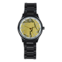 Stylish Gold Stone Stainless Steel Round Watch by yoursparklingshop