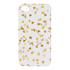 Gold Hearts Confetti Apple Iphone 4/4s Premium Hardshell Case by theimagezone