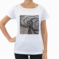 Pebbles Pattern Waves Stone Paving Women s Loose-Fit T-Shirt (White) by Zeze
