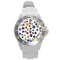 Play With Me Round Plastic Sport Watch (l) by Valentinaart