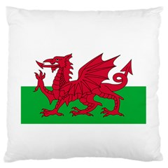 Flag Of Wales Large Flano Cushion Case (one Side)