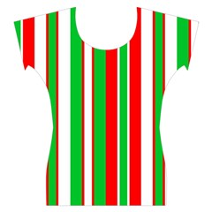 Red Green White Christmas Pattern Women s Cap Sleeve Top by Zeze