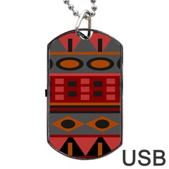 Red Orange Aztec Texture Design Dog Tag USB Flash (One Side) by Zeze
