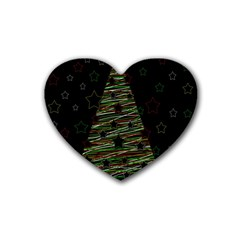 Xmas Tree 2 Rubber Coaster (heart)  by Valentinaart