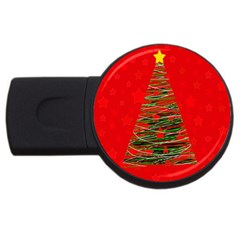 Xmas Tree 3 Usb Flash Drive Round (2 Gb)  by Valentinaart