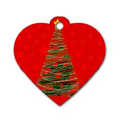 Xmas Tree 3 Dog Tag Heart (one Side) by Valentinaart