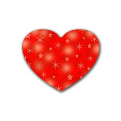 Red Xmas Desing Rubber Coaster (heart)  by Valentinaart