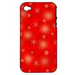 Red Xmas Desing Apple Iphone 4/4s Hardshell Case (pc+silicone) by Valentinaart