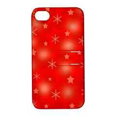 Red Xmas Desing Apple Iphone 4/4s Hardshell Case With Stand by Valentinaart