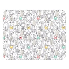 Doodle Cats  Double Sided Flano Blanket (large)  by Mishacat