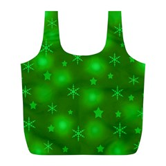 Green Xmas Design Full Print Recycle Bags (l)  by Valentinaart