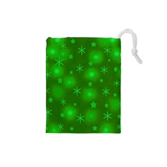 Green Xmas Design Drawstring Pouches (small)  by Valentinaart