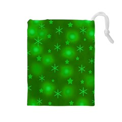 Green Xmas Design Drawstring Pouches (large)  by Valentinaart