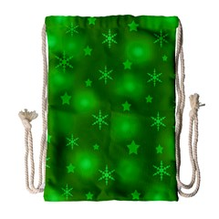 Green Xmas Design Drawstring Bag (large) by Valentinaart