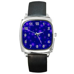 Blue Xmas Design Square Metal Watch by Valentinaart