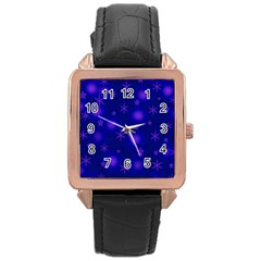 Blue Xmas Design Rose Gold Leather Watch  by Valentinaart