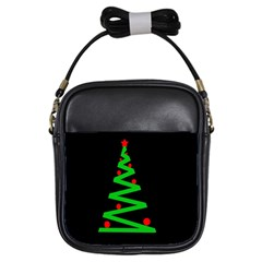 Simple Xmas Tree Girls Sling Bags by Valentinaart