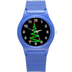 Simple Xmas Tree Round Plastic Sport Watch (s) by Valentinaart