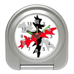 Gray, Red And Black Shape Travel Alarm Clocks by Valentinaart