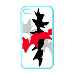 Gray, Red And Black Shape Apple Iphone 4 Case (color) by Valentinaart