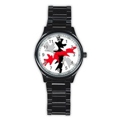 Gray, Red And Black Shape Stainless Steel Round Watch by Valentinaart