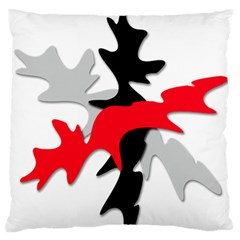 Gray, Red And Black Shape Large Flano Cushion Case (one Side) by Valentinaart