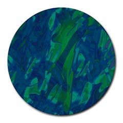 Green And Blue Design Round Mousepads by Valentinaart