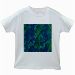 Green And Blue Design Kids White T Shirts by Valentinaart