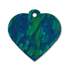 Green And Blue Design Dog Tag Heart (one Side) by Valentinaart