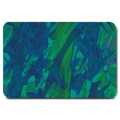 Green And Blue Design Large Doormat  by Valentinaart