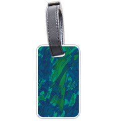 Green And Blue Design Luggage Tags (one Side)  by Valentinaart