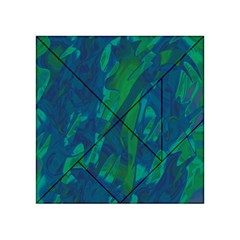 Green And Blue Design Acrylic Tangram Puzzle (4  X 4 ) by Valentinaart