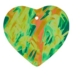 Green And Orange Abstraction Ornament (heart)  by Valentinaart