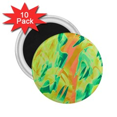 Green And Orange Abstraction 2 25  Magnets (10 Pack)  by Valentinaart