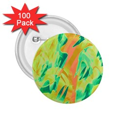 Green And Orange Abstraction 2 25  Buttons (100 Pack)  by Valentinaart
