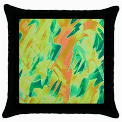 Green And Orange Abstraction Throw Pillow Case (black) by Valentinaart