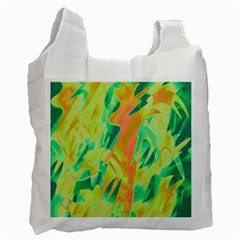 Green And Orange Abstraction Recycle Bag (one Side) by Valentinaart