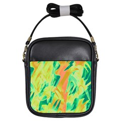Green And Orange Abstraction Girls Sling Bags by Valentinaart