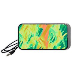 Green And Orange Abstraction Portable Speaker (black)  by Valentinaart