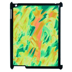 Green And Orange Abstraction Apple Ipad 2 Case (black) by Valentinaart