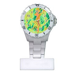 Green and orange abstraction Plastic Nurses Watch by Valentinaart