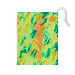 Green And Orange Abstraction Drawstring Pouches (large)  by Valentinaart