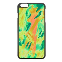 Green And Orange Abstraction Apple Iphone 6 Plus/6s Plus Black Enamel Case by Valentinaart