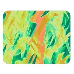 Green And Orange Abstraction Double Sided Flano Blanket (large)  by Valentinaart