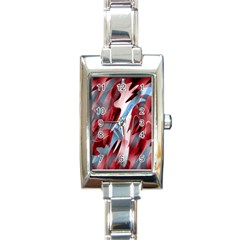 Blue And Red Smoke Rectangle Italian Charm Watch by Valentinaart