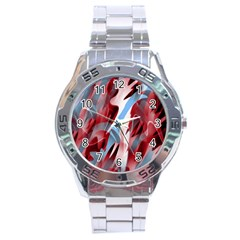 Blue And Red Smoke Stainless Steel Analogue Watch by Valentinaart