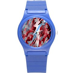 Blue And Red Smoke Round Plastic Sport Watch (s) by Valentinaart